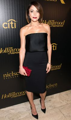 Bethenny Frankel in a black strapless cocktail dress