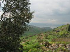 """Hippos, o atual """"sul do Golã"""", como visto do Pico Ein, nas colinas de Golã. As Colinas de Golã são um território sírio ocupado por Israel desde a Guerra dos Seis Dias, em 1967.  Fotografia: Roybb95."""