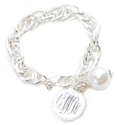 Fashion Silver Links with Pearl Bracelet HandPicked: Link Chain Bracelet with Monogram Charm: Monogram Bracelets [10068912] - $36.00 : HandPicked | Monogram Jewelry, Monogrammed Gifts,Monogram Gifts,Monogrammed Jewelry,HandPicked Originals, Embroidered Gifts,Sterling Silver, Personalized Jewelry
