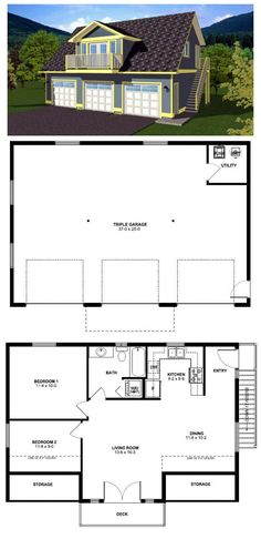 #Garage #ApartmentPlan 90941 | The two bedroom suite over this three car garage is excellent for year round living or for use as guest accommodations. The exterior staircase allows access to the suite without entry through garage for the option of renting. The deck off the front of the loft gives the living area a sunny open feeling.