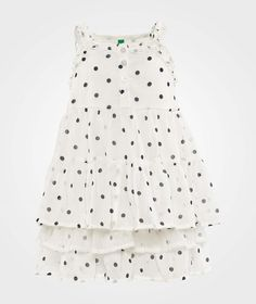 Polka Dot Layered Dress White
