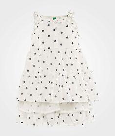 Polka Dot Layered Dress White