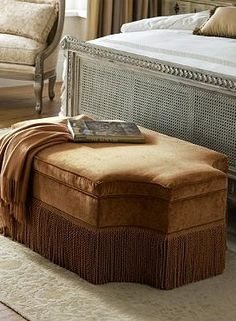A regal piece for the end of your bed, or a handsome cocktail table, the Dynasty Ottoman is a stunning and unique piece that will quickly become the focal point of any room.