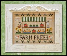 Country Cottage Needleworks Farm Fresh - Cross Stitch Pattern. Model stitched on 28ct Lambswool linen using DMC floss. Stitch count 110x82. Frame by the Family