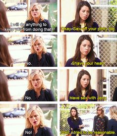 "Parks and Recreation Season Five Episode 7: Leslie vs. April. ""I will do anything to keep you from doing that."""