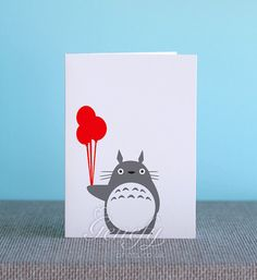 Studio Ghibli My Neighbor Totoro Card - Silhouette Paper Cut Out - Birthday / Invitation Cards / Kids Party / Greeting Cards