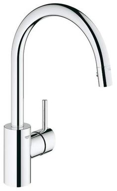 Grohe 32 665 Concetto Pull-Down High-Arc Kitchen Faucet with 2-Function Locking Starlight Chrome Faucet Kitchen Single Handle