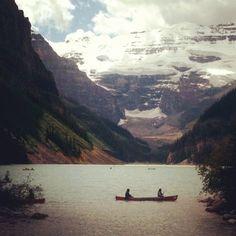 canoe, lake, mountains