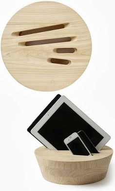 A piece of wood to organize the gadgets. Love this idea Gadgets And Gizmos, Tech Gadgets, Life Hacks Diy, Wood Projects, Woodworking Projects, Cool Inventions, Wood Design, Industrial Design, Geek Stuff