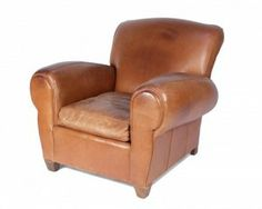 Antique French Leather Club Chair