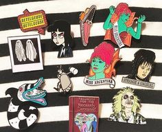 Best film ever! Beetlejuice, Pin And Patches, Iron On Patches, Soft Grunge, Jacket Pins, Horror, Gothic, Indie, Cool Pins