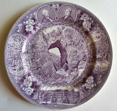Aubergine Purple Transferware Plate Natural Bridges of Virginia Seven Natural Wonders of the World American History / Historical Staffordshire – Nancy's Daily Dish – Winter Wonderland History Cartoon, 7 Natural Wonders, Virginia, Natural Bridge, Porcelain Ceramics, Ceramic Plates, Ceramic Art, All Things Purple, Floral Border
