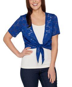 Lapis Blue Lace Short-Sleeve Shrug - Plus Too
