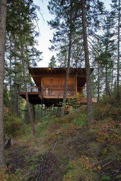 vue panoramique partie sur pilotis salon & grande baie vitrée - Cabin-Flathead-Lake par Anderson Wise Architects - Montana, USA