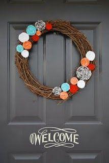 Rolled fabric flower wreath  @Madeline Foutz @Madeline Foutz