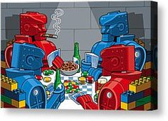 Rockem Sockem Poker Night - Digital Art by Ron Magnes - Robots | Pop Art