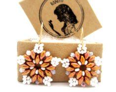 Super Duo Earrings / Beaded Earrings /  Beaded Jewelry / Gold Filled Earrings