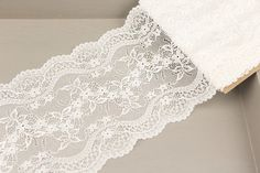 Wide Floral Stretch Lace Trim Double Scalloped by felinusfabrics