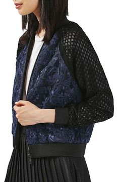 Free shipping and returns on Topshop Mesh & Lace Bomber Jacket at…