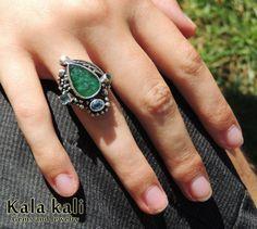 Natural Green Emerald and 2 Deep Blue Aquamarine in by KalaKali, €320.00