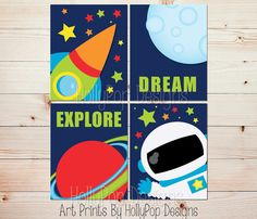 Space nursery art Astronaut art Rocket ship by HollyPopDesigns