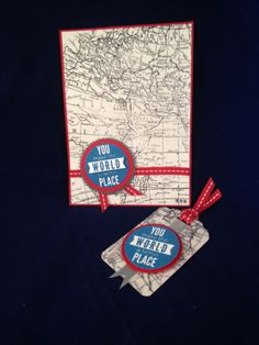Starburst Sayings and World Map Stamps from Stampin Up! just pop off the page in whisper white, real red and pacific blue