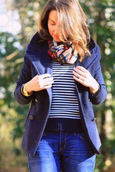 old navy peacoat, stripes, plaid scarf ~ classics