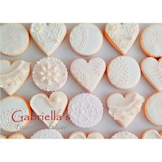 Collection of White Heart & Round Cookies - Bedankjes in de vorm van een hart 4