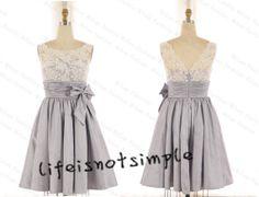 Lace Bridesmaid Dress,Lace Prom Dress,Lace Homecoming Dress Short Bridesmaid Dress, Grey Bridesmaid Dress, custom size +++ on Etsy, $99.99