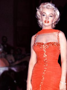"Marilyn Monroe during the filming of ""Gentlemen Prefer Blondes"" 1953  She looks kind of sad here."