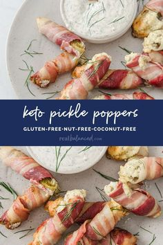 These Keto Pickle Poppers are a perfect party or game day appetizer that can be made in under an hour. This recipe is low in carbs, gluten-free, grain-free, nut-free, egg-free, primal-compliant, and does not contain any added sweetener. Simply prepare the pickles by removing the seeds, before preparing the filling, wrapping each pickle in bacon, baking, making homemade ranch, then serving! They are perfectly briny, savory, and so delicious! #realbalancedblog #ketoappetizer #ketogameday