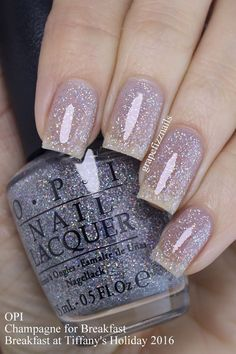new OPI Breakfast at Tiffany's Holiday 2016 Collection to share with you today! Fancy Nails, Trendy Nails, Cute Nails, Opi Nails, Glitter Nails, Manicures, Glitter French Manicure, Nail Polishes, Fabulous Nails
