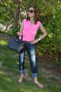 Pink & Pearls :: Express, Tory Burch, Statement necklaces :: Casual Spring