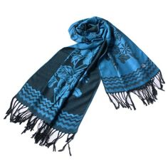 Pa-616-6 Dodger Blue Base Peony Flowers Patterns Exquisitely Soft Woven Pashmina/Shawl/Scarf