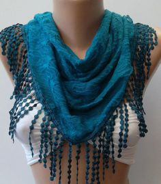 Turquoise Elegance Shawl / Scarf by womann on Etsy, $17.90