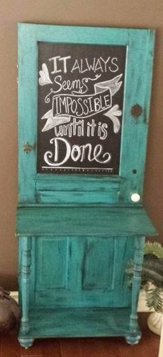 door into entry table with chalkboard