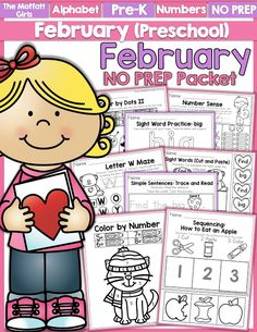 Teach number concepts, colors, shapes, letters, phonics and so much more with the February NO PREP Packet for Preschool!