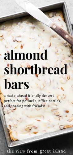 bar cookies Almond Shortbread Bars ~ an easy shortbread dessert recipe infused with a homemade almond paste, and topped with a to-die-for sweet almond glaze! Köstliche Desserts, Delicious Desserts, Fast And Easy Desserts, Fast Dessert Recipes, Dinner Recipes, Shortbread Bars, Almond Shortbread Cookies, Almond Paste Cookies, Almond Bars