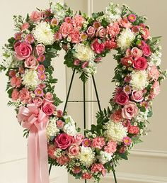 Always Remember Pink Floral Heart Tribute - http://yourflowers.us/always-remember-pink-floral-heart-tribute/