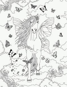 coloriages bella sara cheval papillon plus butterfly pegasus coloring page