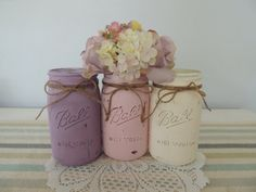 Lavender Light Pink and White Mason Jar by TheCountryHomeShoppe