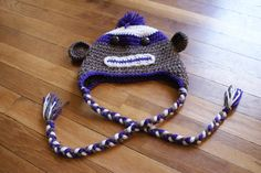 Adult Sock Monkey Hat - purple $25