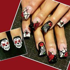 sugar skulls by Oli123 - Nail Art Gallery nailartgallery.nailsmag.com by Nails Magazine www.nailsmag.com #nailart