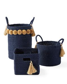 Call us greedy but we have to have all three. The play between different silhouettes, heights, and handles makes the mix look curated, not cluttered. We also love the flourish from the raffia tassels and poms. Rope Basket, Basket Weaving, Hand Weaving, Rope Crafts, Diy And Crafts, Cottage Design, Storage Baskets, Straw Bag, Big Sur