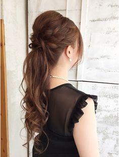ゆる巻きロングのあみこみアップ☆ORO Creative Hairstyles, Party Hairstyles, Cute Hairstyles, Braided Hairstyles, Wedding Hairstyles, Braids With Curls, Hair Arrange, Hair Hacks, Wedding Makeup