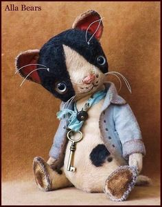 by Alla Bears Cat original artist Vintage girl boy collectible handmade art toy decor anime present Art D'ours, Art Jouet, Mini Teddy Bears, Hand Work Embroidery, Decoration Originale, Elephant Art, Bear Art, Plush Animals, Vintage Girls