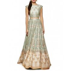 Sage Green Lengha with Resham Embroidery