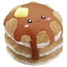 Comfort Food Pancakes: An Adorable Fuzzy Plush to Snurfle and Squeeze! Food Pillows, Cute Pillows, Diy Pillows, Food Plushies, Yummy World, Cute Stuffed Animals, Cute Plush, Dog Bows, Squishies