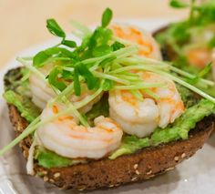 Garlicky Shrimp Avocado Sandwiches