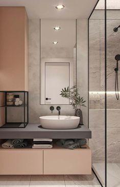 40 modern bathroom vanities that overflow with style - Badezimmer 2019 - Bathroom Decor Black Bathroom Taps, Small Bathroom, Bathroom Ideas, Bathroom Vanities, Black Bathrooms, Washroom, Pastel Bathroom, Black Bathtub, Bathroom Storage